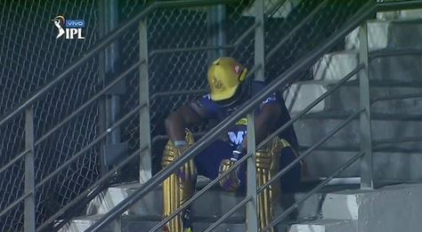 Andre Russel seemed upset after not being able to win the game for KKR