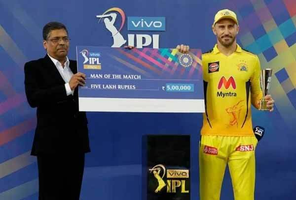 IPL : Fifth foreigner to win Player of the Match in Du Plessis final