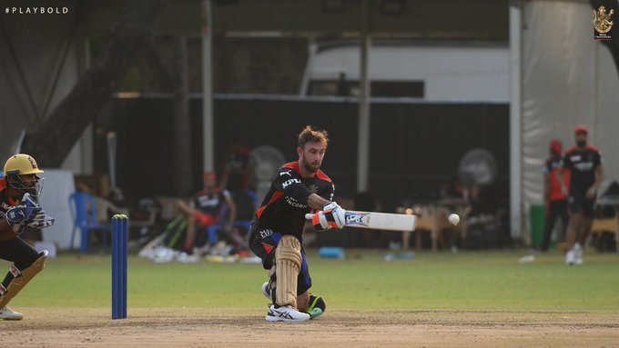 IPL 2021: RCB shared a picture or video of Glenn Maxwell batting in what seemed like a practice match.